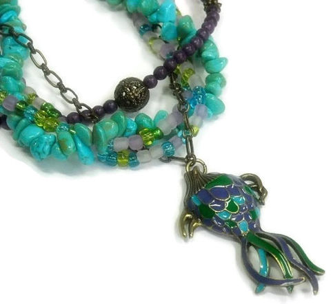 Turquoise,Necklace,,Layered,necklace,,Jewelry,,Multistrand,,Mixed,Gemstones,,Purple,and,Turquoise,,Koi,Fish,Pendant,,Boho,,Beach,Jewelry,Necklace,turquoise_necklace,real_turquoise,december_birthstone,mixed_media,multi_strand,layered_jewelry,purple_and_turquoise,Koi_fish_necklace,symbolic_fish,multistrand,boho_bohemian,beach_ocean_sea,one_of_a_kind_ooak,antique brass chain,antique b