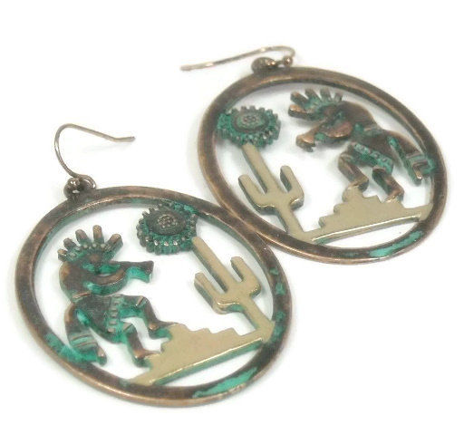 Artistic Southwest Earrings Patina Gold Cactus Kokopelli Sun Scene Earrings Cutout Dangle Metalwork Aztec Folklore Art Native Jewelry - product images  of