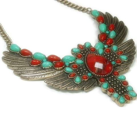 Cross,Wing,Necklace,-,Southwest,Winged,Turquoise,and,Red,Statement,Angel,Wings,Native,American,Spiritual,Freedom,Jewelry,winged_cross_jewelry,cross_wing,statement_necklace,turquoise,red,southwest,spiritual_freedom,native_american,symbolic_jewelry,cowgirl_boho_chic,bib,collar,angel_wing,brass chain,winged cross hinged pendant