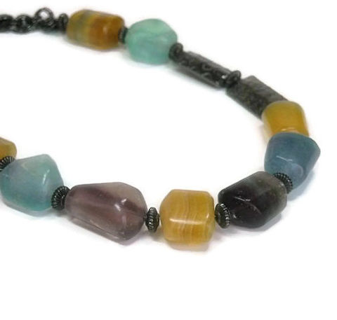 Fluorite,Necklace,-,Smooth,Raw,Nugget,Asymmetrical,Handmade,Gemstone,Jewelry,Fluorite_Necklace,Fluorite_Jewelry,Fluorite_Nuggets,Natural_Gemstones,Gunmetal,Statement,One_Of_A_Kind_Ooak,Natural_Fluorite,Raw_Fluorite,Multicolor,Tt_Tpt_Punks_123,20mm fluorite nuggets,gunmetal spacers,hammered gu
