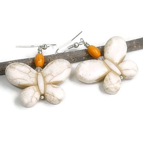 Butterfly,Earrings,-,White,Gemstone,Dangle,White,,Orange,Symbolic,Boho,Hippie,Jewelry,butterfly_earrings,butterfly_dangle,gemstone_butterflies,white_butterfly,butterfly_jewelry,symbolic_butterfly,garden,spring_summer,white_orange,butterfly,boho_hippie,nature,tt_tpt_punks_123,24mm magnesite butterflies,orange magnesite barr