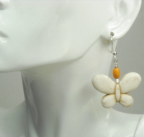 Butterfly Earrings - White Gemstone Butterfly Dangle Earrings - White, Orange - Symbolic Butterfly - Boho - Hippie - Butterfly Jewelry - product images  of