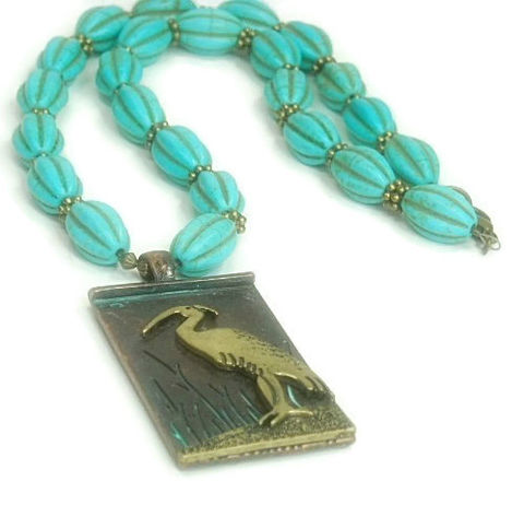 Turquoise,Necklace,with,Crane,Pendant,-,Verdigris,Patina,Stamped,Beach,Rustic,Wildlife,Jewelry,Crane_bird,crane_necklace,Turquoise_Necklace,Turquoise_Jewelry,Verdigris_Patina,Animal_Pendant,bird_jewelry,beach,Woodland,nature,black_friday_cyber_m,jewelers wire,16 x 10mm fluted turquoise beads,antique brass daisy spacers,antiq
