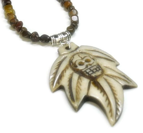 Mens,Skull,Necklace,-,Bone,Maple,Leaf,Guys,Tiger,Iron,with,Day,of,the,Dead,Rocker,Tribal,Jewelry,Skull_Jewelry,Skull_Necklace,Goth_Necklace,Rocker_Jewelry,Mens_Jewelry,Mens_Necklace,Earthy_Colors,Halloween,Bone_Skull,Tiger_Iron,Carved_Skull,black_friday_cyber_m,french crimps,jewelers wire,lobster clasp,6mm tiger iron nuggets,pew
