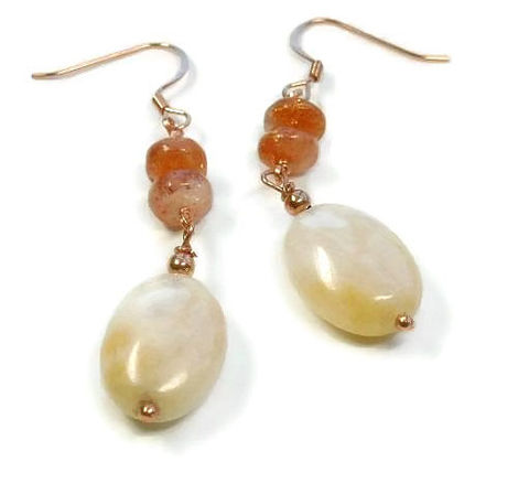 Sunstone,Dangle,Earrings,-,Gemstone,Orange,Peach,Summer,Boho,Sun,Stone,Jewelry,Bohemian,Natural,sunstone_earrings,sunstone_jewelry,dangle_earrings,gemstone_earrings,sunstone,copper_earrings,fall_fashion,orange_peach,fall_autumn,sun_stone,natural,boho_bohemian,southwest,18mm peach aventurine oval beads,3mm copper rounds,8mm Sunstone