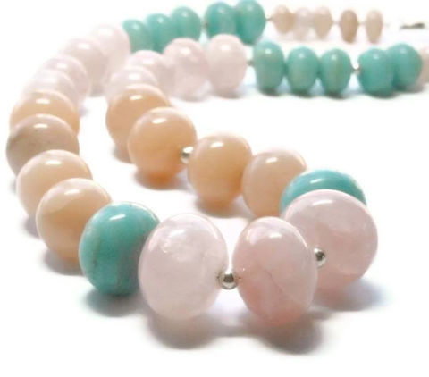 Pastel,Gemstone,Necklace,-,Jewelry,Graduated,Rose,Quartz,,Peruvian,Opal,Peach,Aventurine,Color,Block,Chunky,pastel_necklace,pastel_jewelry,pastel_gemstones,graduated_necklace,chunky_necklace,rose_quartz,peruvian_opal,peach_aventurine,pink_aqua_peach,statement_necklace,sterling_silver,color_block,black_friday_cyber_m,graduated gemstonel roundels