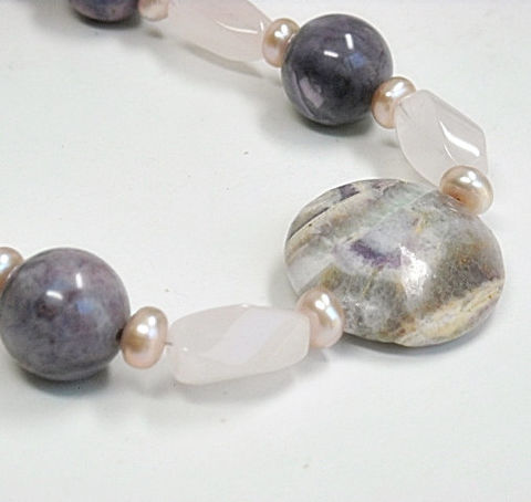 Rose,Quartz,,Sugilite,Necklace,-,Freshwater,Pearls,Gemstone,Lavender,Purple,Pink,Chunky,Spring,Summer,Pastel,Jewelry,Pastel_Necklace,Rose_Quartz_Necklace,Sugilite_Necklace,Pearl_Necklace,Gemstone_Necklace,Soft_Pink,Chunky_Necklace,june_birthstone,gifts_Under_50,rose_quartz_jewelry,spring_summer,black_friday_cyber_m,14mm sugilite rounds,10mm X 1
