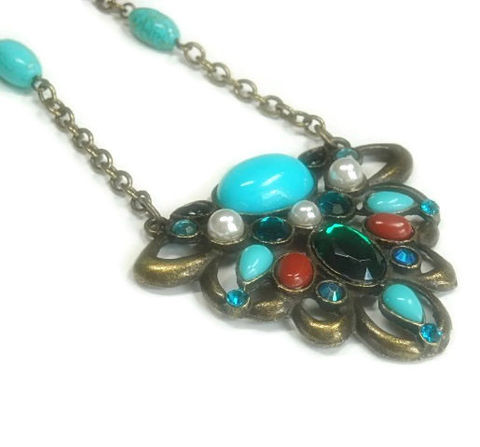 Retro,Boho,Necklace,,Turquoise,and,Pearl,Beaded,Handmade,,Antique,Brass,,Bohemian,,Victorian,,Statement,,Gemstone,,V,Pendant,Jewelry,Necklace,Art_Deco_Necklace,Art_Deco_Jewelry,Victorian_Jewelry,Retro_Vintage,Jewel_Pendant,Turquoise_Necklace,Pearl_Necklace,Rhinestone_Pendant,Carnivale,Pendant_Necklace,Bohemian,Deco_Style_Jewelry,black_friday_cyber_m,antique brass chain,eye pins