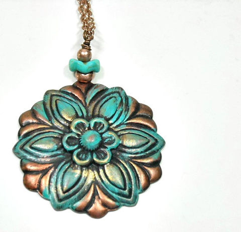 Flower,Pendant,Necklace,,Stamped,Copper,Verdigris,Patina,Floral,Pendant,,Rustic,,Art,Deco,,Long,Layering,Necklace,Set,,Bohemian,Jewelry,flower_necklace,flower_jewelry,copper_patina,layering_necklace,long_necklace,floral_jewelry,turquoise_patina,copper_flower,rustic_boho,art_deco_flower,flower_pendant,long_layer_necklace,necklace_set,patina,lobster clasp,copper flower pend
