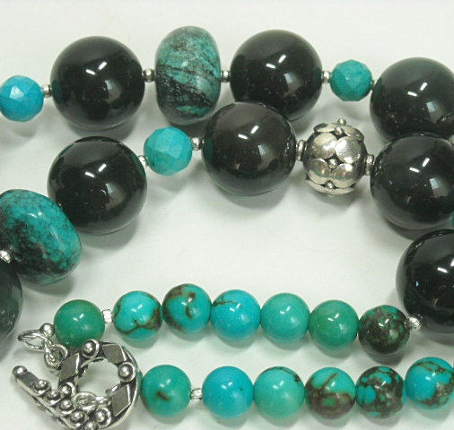 Skull Necklace, Tourmalinated Crystal Quartz Skull Jewelry, Real Genuine Turquoise, Ribbon Boulder Turquoise, Rainbow Obsidian, Goth - product images  of