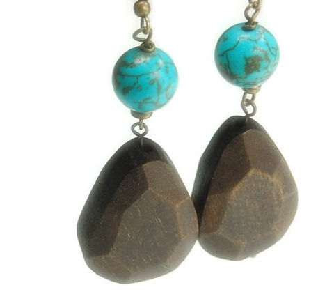 Wood,Earrings,-,Turquoise,Carved,Jewelry,Art,Dangle,with,Natural,Eco,Friendly,Wood_Earrings,Wood_Jewelry,Mod,Boho_Earrings,Gemstone_And_Wood,Repurposed_Wood,Carved_Wood_Nuggets,Handmade,Turquoise_Earrings,black_friday_cyber_m,12mm magnesite rounds,brass earwires,brass ball pins,brass jump r