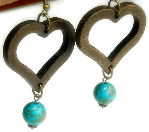 Wood,Heart,Earrings,-,Jewelry,Valentines,Natural,Turquoise,Dangle,Handmade,Bohemian,Boho,Heart_Earrings,Wood_Hearts,Heart_Jewelry,Valentine,Mod,Boho_Earrings,Gemstone_And_Wood,Repurposed,black_friday_cyber_m,wooden hearts,12mm magnesite rounds,brass earwires,brass ball pins,brass jump rings,bras