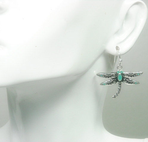 Dragonfly Earrings - Dangle - Turquoise Stamped Dragonfly - Dragonfly Jewelry - Nature - Summer - Boho Chic - Insect Jewelry - Bug Earrings - product images  of
