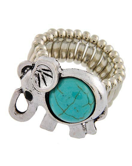 Turquoise Elephant Stretch Ring - product images  of