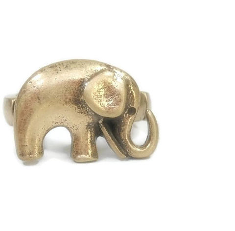 Brass,Elephant,Stretch,Ring,Brass Elephant Stretch Ring - Adjustable Ring - Safari - Kawaii - Animal - Boho - Symbolic Ring - Elephant Jewelry - Brass Elephant
