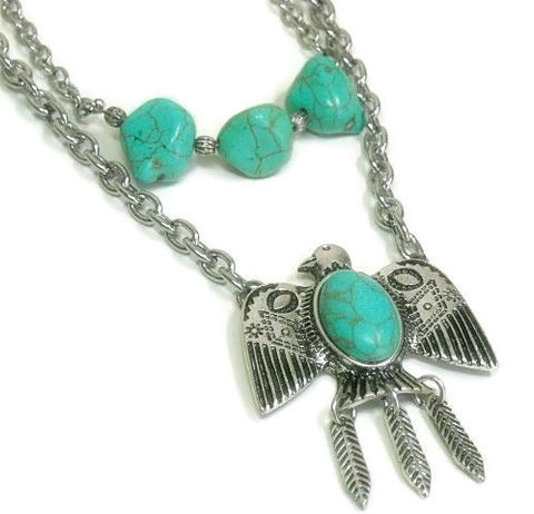 Turquoise,Necklace,,Layered,Stone,Double,Strand,,Boho,,Indie,,Hippie,,Southwest,,Tribal,,Gift,for,Her,,Eagle,,Bird,Jewelry,Necklace,turquoise_neckace,Eagle_Necklace,Double_Strand,layered_necklace,symbolic_eagle,turquoise_jewelry,turquoise_gemstone,bird_jewelry,southwest_jewelry,boho_bohemian,eagle_jewelry,multi_strand,lobster clasp,chain,turquoise magnesite nuggets,ea