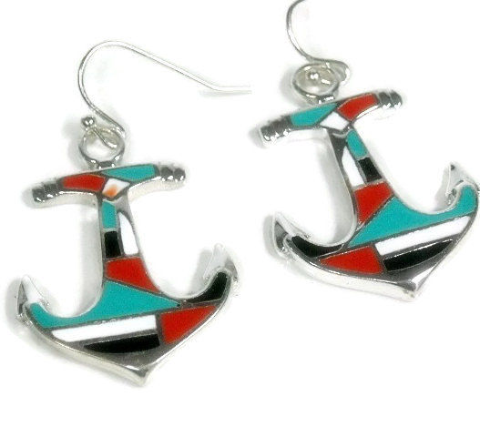 Anchor Earrings, Anchor Jewelry, Red, Black, Turquoise Inlay, Nautical Earrings, Beach Earrings, Summer, Boating, Dangle Anchor Earring - product images  of