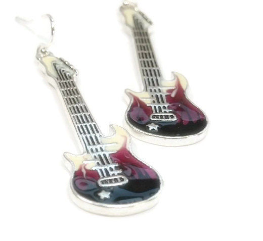 Electric Guitar Rocker Earrings - Purple Guitar Earrings - Electric Guitar Dangle Earrings - Musical Instrument Earrings - Guitar Jewelry - product images  of