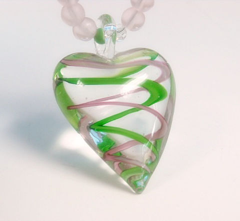 Heart,Necklace,-,Puffy,Murano,Glass,Pink,,Mint,Green,Swirl,Matte,Beads,Jewelry,Teen,Gift,for,Her,heart_necklace,valentine_gift,glass_heart,heart_jewelry,mint_green,pink,valentines_day,gifts_for_her,sweetheart_jewelry,murano_glass_heart,Valentines_heart,glass_heart_necklace,murano_glass,silver plated lobster clasp,french crimps,beadin