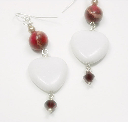 Heart Earrings, White Jade, Red Impression Jasper, Gemstone, Love, Passion, Heart Jewelry, Dangle, Gift For Her, Heart Jewelry - product images  of