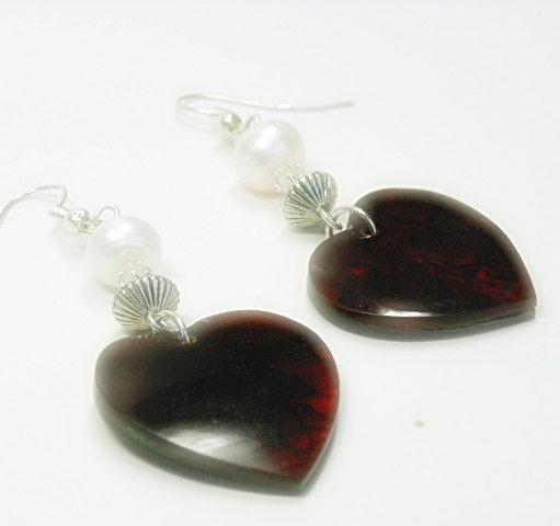 Red Paua Shell Heart Earrings with Pearls, Abalone Earrings, Valentine, Love, Abalone Shell Earrings, Heart Jewelry, Valentines Day - product images  of