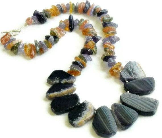 Dog Tooth Amethyst Nugget Necklace - Slab Focal Necklace -  Amethyst Collar Necklace - Tribal, Organic - Natural Amethyst Jewelry - February - product images  of