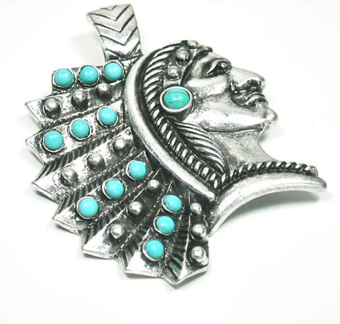 Magnetic,Turquoise,Indian,Pendant,Magnetic Pendant, Magnetic Western Indian Headdress Pendant, Magnetic Pendant with Turquoise Cabochons, Clip On Interchangeable Magnetic Pendant, Western Jewelry, Native, Indian Chief, Headdress, Southwest, Removable Pendant