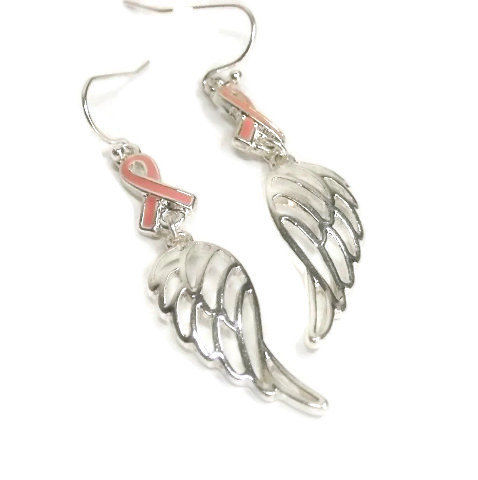 Pink Ribbon Angel Wing Earrings - Breast Cancer Awareness Earrings - Dangle - Breast Cancer Support - October - Pink Ribbon Jewelry - product images  of