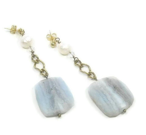 Blue,Lace,Agate,Post,Earringse,-,Flat,Slab,Dangle,Earrings,&,Faceted,Pearl,Jewelry,lace_agate_jewelry,lace_agate_earrings,lace_agate_slabs,banded_lace_agate,pearls_and_agate,pastel_blue_earrings,natural_jewelry,blue_lace_agate,black_friday_cyber_m,dangle,stone_earrings,gemstone_earrings,natural_stones,24mm natura