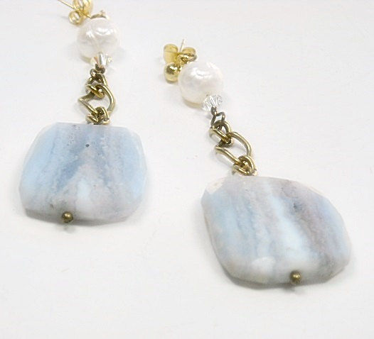 Blue Lace Agate Post Earringse - Blue Lace Agate Flat Slab Dangle Earrings - Lace Agate & Faceted Pearl Earrings - product images  of