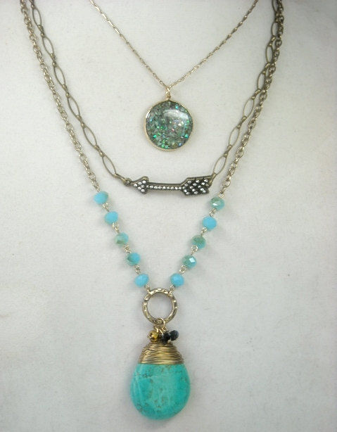 Bohemian Jewelry, Layered Chains and Charms Necklace, Turquoise, Layered Necklace, Multistrand, Set of 3, Boho, Arrow, Gemstone Pendant - product images  of