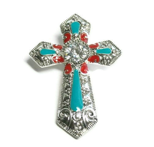 Magnetic Cross Pendant - Red and Turquoise Rhinestones - Clip On Stamped Cross Pendant - Interchangeable - Western Cross Pendant - Cowgirl - product images  of