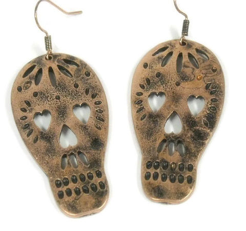 Sugar,Skull,Earrings,-,Stamped,Cut,Out,Dangle,Jewelry,Native,Day,of,the,Dead,Dia,de,los,Muertos,sugar_skull_earrings,sugar_skull_dangle,sugar_skull,day_of_the_dead,Dia_de_los_Muertos,native_american,stamped_skull,skull,skull_earrings,cut_out_skull,copper_skull,skull_dangle,tt_tpt_123_punks,copper