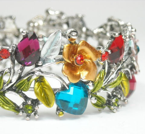 Vintage,1970s,Hinged,Cuff,Bracelet,-,Wide,Multicolor,Rhinestone,Roses,,Leaves,Crystal,Boho,Chic,Hippie,Summer,Garden,Jewelry,Cuff_Bracelet,Vintage_Cuff,Hinged_Cuff,1970's_Cuff,Jewelled_Cuff,Multicolor_Cuff,Floral_Cuff,Rhinestone_Bracelet,flowers_roses,multicolor,summer_garden,mothers_day,metal hinged cuff with stones