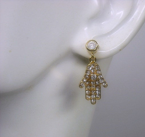 Hamsa Hand Earrings, Hamsa Hand Posts, Symbolic, Cubic Zirconia, Gemstone Hamsa Hand Earrings, Hamsa Hand Jewelry, Gold, Petite, Sparkle - product images  of