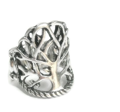 Tree,of,Life,Ring,Tree of Life Stretch Ring, Jewelry, Woodland, Nature, Symbolic Tree, Silver Metal, Rustic
