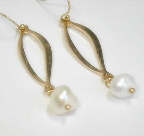 Pearl Earrings, Pearl Dangle, Freshwater Pearl, Gold Twist Pearl Drop Earrings, June Birthstone, Pearl Jewelry, Minimalist, Boho, Bohemian - product images  of