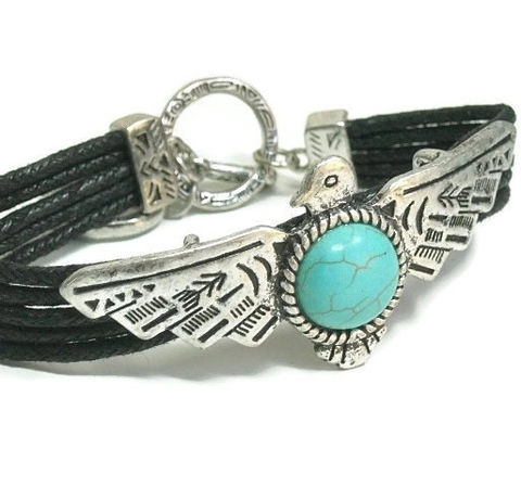 Turquoise,Bracelet,-,Thunderbird,Adjustable,Southwest,Style,Native,Symbolic,Bird,Black,Corded,Jewelry,thunderbird_bracelet,Turquoise_Bracelet,thunderbird_jewelry,symbolic_bird,native_animal_symbol,adjustable_bracelet,Boho_Southwest,native_american,bird_jewelry,turquoise_jewelry,Cowgirl_Jewelry,animal_jewelry,black_friday_cyber_m,howlite c