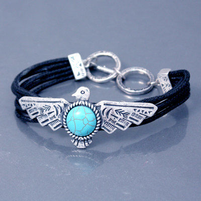 Turquoise Bracelet - Thunderbird Adjustable Bracelet - Southwest Style Bracelet - Native Symbolic Bird - Black Corded Thunderbird Bracelet - product images  of