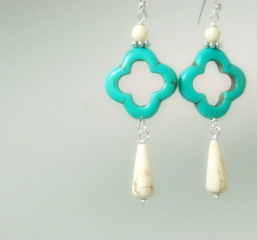 Neon Earrings - Turquoise & White Dangle Earrings - Neon Jewelry - Neon Turquoise Dangle Earrings, Summer, Beach - product images  of