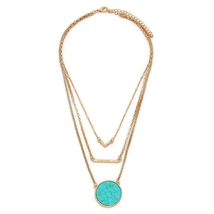 Bohemian Jewelry, Layered Chains and Charms Necklace, Turquoise, Layered Necklace, Multistrand, Bar Necklace, V Necklace, Triple, Boho - product images  of