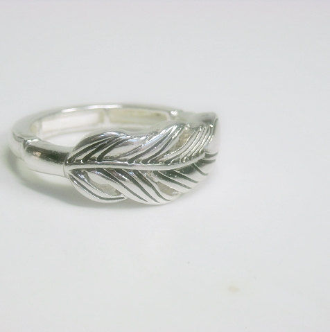 Silver Feather Stretch Ring - product images  of