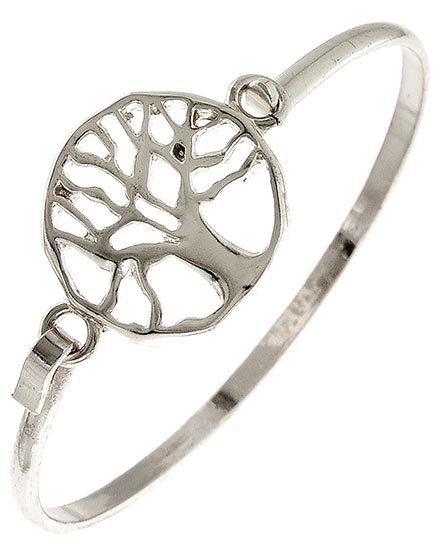 Tree of Life Bracelet - Silver Metal Tree of Life Bangle Bracelet - Woodland - Rustic - Symbolic Jewelry - Family Tree - Boho - Nature - product images  of