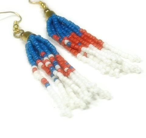 Fringe,Dangle,Earrings,-,Boho,Jewelry,Red,,White,and,Blue,Hippie,Indie,Patriotic,Seed,Bead,Native,Southwest,Fringe_Earrings,Seed_Bead_Earrings,Long_Dangle_Earrings,Beaded_Earrings,Fringe_Jewelry,Bohemian,Boho_Earrings,Southwest_Earrings,Patriotic_Earrings,Red_White_Blue,Americana,Patriotic_Jewelry,black_friday_cyber_m,seed beads,gold plated bea