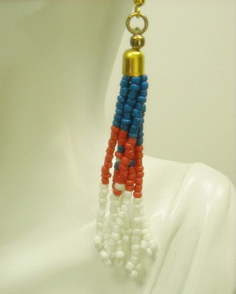 Fringe Dangle Earrings - Boho Jewelry - Red, White and Blue - Hippie - Indie - Patriotic - Seed Bead - Native - Southwest  - product images  of