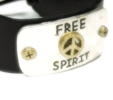Free,Spirit,Peace,Bracelet,-,Brown,Leather,with,Message,Adjustable,Quote,Boho,Southwest,Hippie,Jewelry,Leather_Bracelet,Brown_Leather,Leather_Jewelry,Message_Bracelet,Bohemian_Bracelet,Hippie_Jewelry,Stamped_Message_Cuff,Hippie_Cuff,Quote_Bracelet,Free_Spirit_Cuff,Peace_Symbol,black_friday_cyber_m,brown leather,hammered metal pl