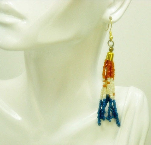 Seed Bead Fringe Dangle Earrings - Boho Jewelry - Pumpkin, Cream and Blue - Hippie - Indie - Patriotic - product images  of
