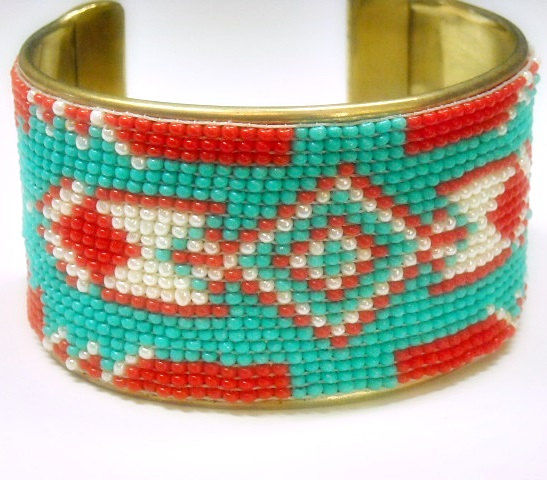 Beaded Cuff - Wide Southwest Beaded Cuff Bracelet - Cowgirl - Turquoise, Red and Ivory Seed Beads - Beadwoven - Native - Arrow - Beadwork - product images  of