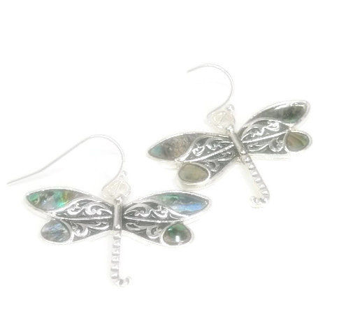 Abalone Dragonfly Earrings -  Dragonflies - Dragonfly Jewelry - Nature - Summer - Boho Chic - Insect Jewelry - Bug Earrings - product images  of