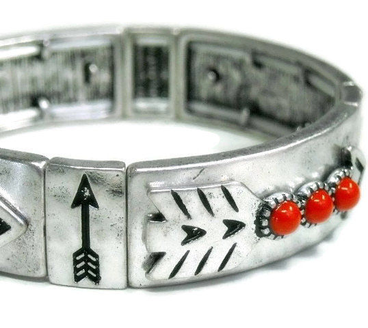 Arrow Bracelet - Southwest Arrow Stretch Bangle - Red Coral - Rustic - Southwest - Art Deco - Native - Silver Stamped Bracelet with Arrow - product images  of